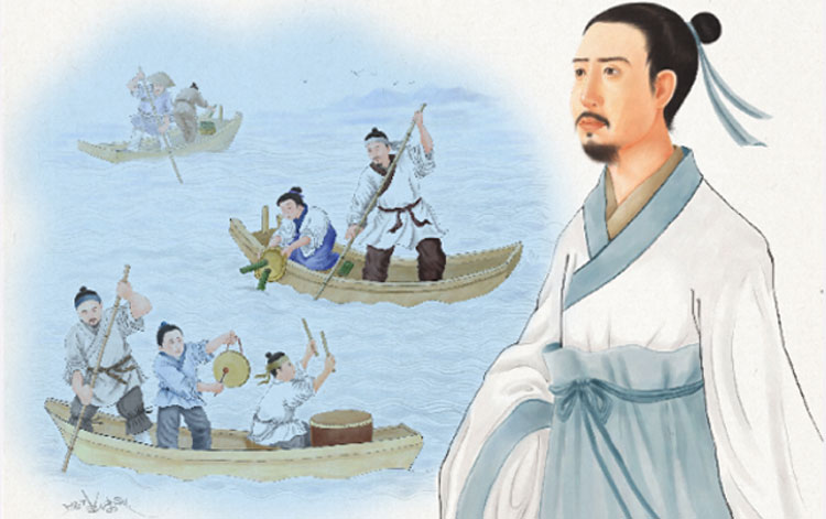 mencari jasad Qu Yuan